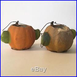 C 1900 German Halloween Candy Container x2 Jack-O-Lantern Antique Vintage As Is
