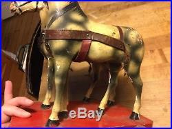 Darling Antique Vintage German Wooden Pull Toy Horse Team Original Paint Nice