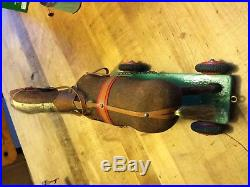 Darling Antique Vintage German Wooden Pull Toy Horse & Wagon Flock Paint Nice