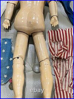 EXTREMELY Rare GERMAN BISQUE PORTRAIT OF UNCLE SAM BY DRESSEL OG COSTUME 12 S1