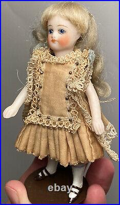 Early Antique All Bisque 4 1/2 French Mignonette Doll All Original Fantastic