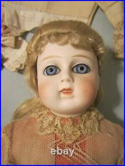 Early Antique Original 15 1/2 German Closed Mouth Fashion Doll and Wardrobe