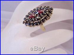 Estate Vintage Antique Victorian 14K (585) German Bohemian Garnet TwoTier Ring