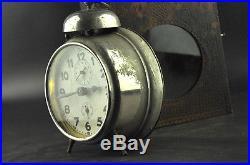 Excellent Junghans German Working Alarm Clock Pyrography Wooden Box Antique Vtg