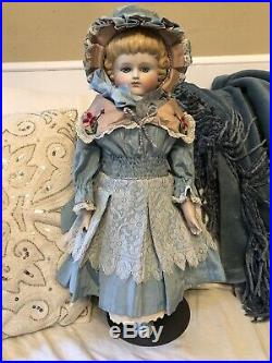 Exquisite 20 Antique Glass Eyed German Parian Girl Doll Molded Hair