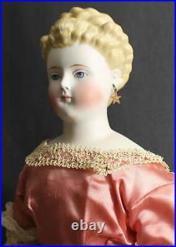 Exquisite Antique Parian Doll In Pink Dress