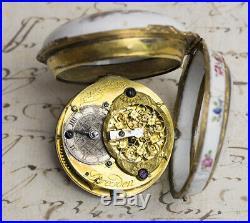 FREDERICK GREAT Painted Enamel DRESDEN GERMAN Verge Fusee Antique Pocket Watch