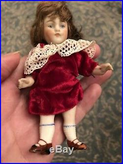 German All Bisque 4.25 Kestner Doll With Antique Red Velvet Dress Dollhouse