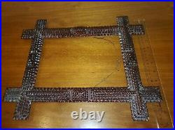 German American Tramp Art Frame Ornate Layered Hand Carved Folk Art 12 x 14