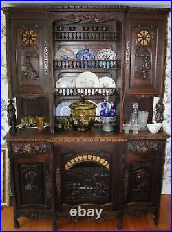 German Antique Carved 11 Piece Dining Room Set
