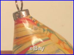 German Antique Glass End Of Day Marble Swirl Vintage Christmas Ornament 1930's