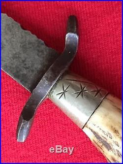 German Antique Hunting Knife Stag Handle And File Work Excellent/Vintage