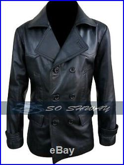 German Army Submariner WW2 Vintage Men's Military Black Leather Jacket Coat