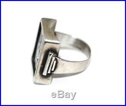 German Art Deco Sterling Cobalt Enamel JW Monogram Signet Ring, Antique Mens Vtg