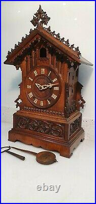 German Black Forest Carved 8-Day Twin Fusee Bracket Cuckoo Clock Beha 510