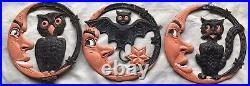 German Germany Die Cut Bat, Cat, Owl, Moon Stars Embossed Vintage Halloween Lot3
