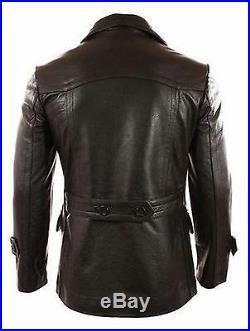 German Submariner WW2 Vintage Men's Cowhide Black Leather Jacket/Coat