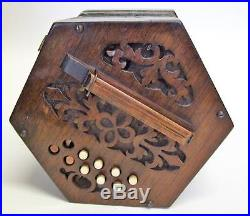 Good Vintage Antique Concertina 20 Key Poss German Needs A Little Restoration