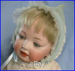 Gorgeous Gray Eyed Antique Bisque German Character Baby Doll, 16
