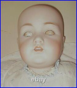 HUGE 30-in Kestner JDK 214 antique bisque doll, perfect head, NEEDS LEFT HAND