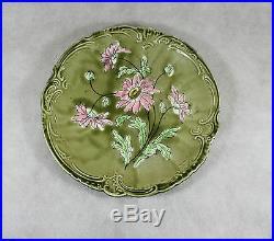 Imperial-Bonn Germany Plate Majolica Floral Green Antique Vintage Porcelain