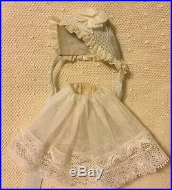 Lace dress, bonnet, slip for antique French German all bisque doll mignonette