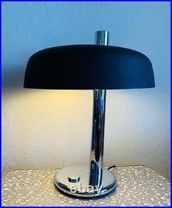 Large 1970s Egon Hillebrand Table Lamp Mid Century German Vintage Chrome Black