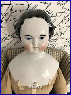 Large 25 Antique German High Brow Flat Top China Head Doll