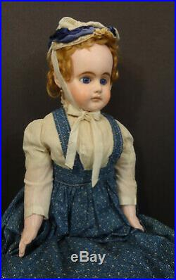 Large 30 Antique German Papier Mache Doll with Stunning Blue Eyes