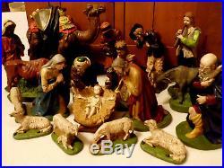 Large Antique Vtg Church Nativity Set Camel Mary Statue German 18pc Excellent