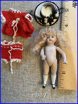 Lovely Antique Darling 3.5 All Bisque Doll French Mignonette Look Fancy Hat