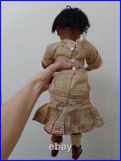 Lovely antique black doll brown bisque original old dress