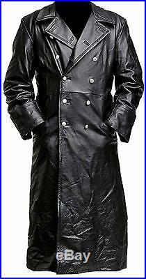 Mens Black German MIlitary WW2 Vintage Long Trench Coat Genuine Leather Jacket