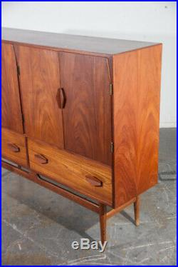 Mid Century Danish Modern Credenza Highboard Teak German Cabinet Denmark Vintage