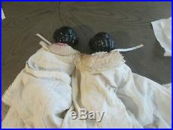 Pair Of Antique German 22 Inch China Flat Head Dolls In Full Dress