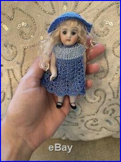 Pretty Antique All Bisque Kestner Mold 620 Glass Eye German Doll Nicely Dressed