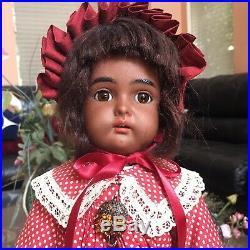RARE 18 Kammer Reinhardt Black Brown Bisque Antique Doll Simon Halbig AA