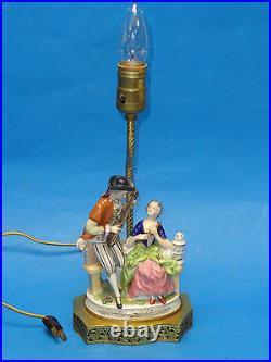 RARE ANTIQUE 19 c VOLKSTEDT DRESDEN PORCELAIN TABLE LAMP
