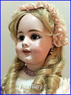 RARE Simon Halbig 759 Doll Shoulder Head, Pink Cloth Body, 25