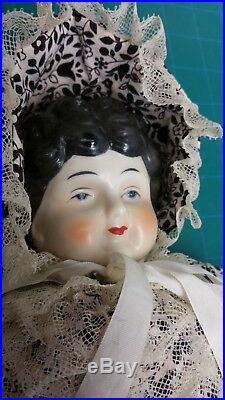 RARE Vintage Antique German Glazed Porcelain China Doll Hertwig NEAR Mint 17