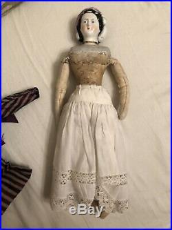 Rare 11.5 Petite Antique German Empress Eugenie China Doll Snood Fancy Hair