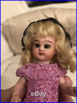 Rare 4.75 Black Stockings Simon Halbig All Bisque Mignonette Doll French Market