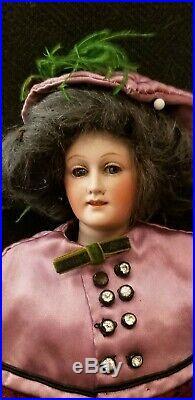 Rare Antique 7925 Gebruder Heubach Fashion Lady 15 Bisque Head Doll