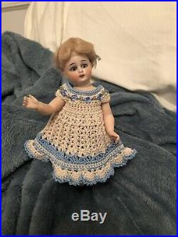 Rare Antique Extra Large All Bisque 7 Doll For The French Market Original Wig