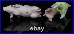 Rare Antique Pair German Pink Pig Clown Miniature Bisque Circus Figurines Toys