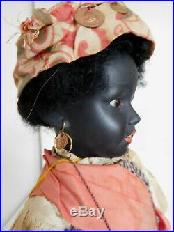 Rare! Antique Simon & Halbig 1368 Black Wax-Over Bisque All Original