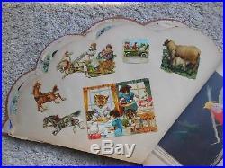 Rare Antique Victorian Girls Fan Shape Scrapbook + Vintage German Die Cuts