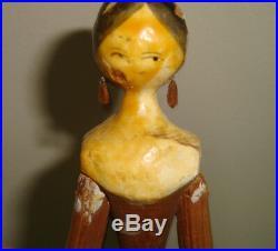 Rare Antique Wooden German Grodnertal Doll 10.5 tall