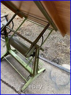 Rare Nestler German Industrial Adjustable Cast Iron Drafting Table Office Desk