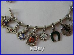 Rare Vintage Antique German Silver Enamel Lucky Charm Bracelet 20 Charms 7.25
